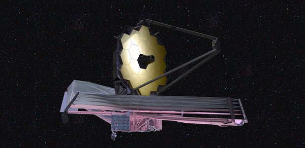 A rendering of the James Webb Space Telescope in space.