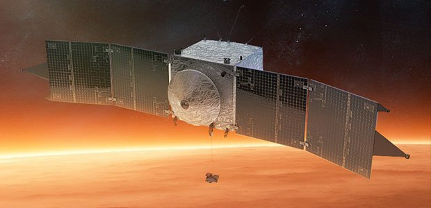 A rendering of the MAVEN Spacecraft above Mars.