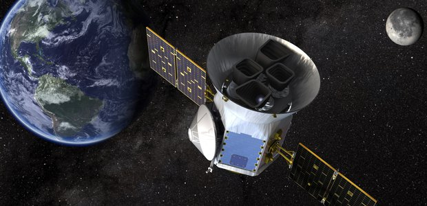 A rendering of TESS with Earth and the Moon in the background.